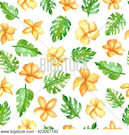 Watercolor Seamless Pattern With Yellow Hibiscus. Design For Dresses With Orange Flowers. Seamless I