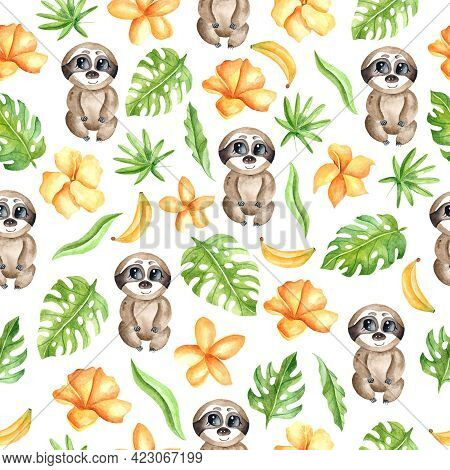Watercolor Seamless Pattern With Sloth, Leaves, Yellow Flowers, Banana On A White Background. Tropic