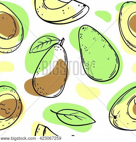 Avocado Pattern Abstract Delicious Tropical Fruit Whole And In Half Slices With Leaves For Paleo Die