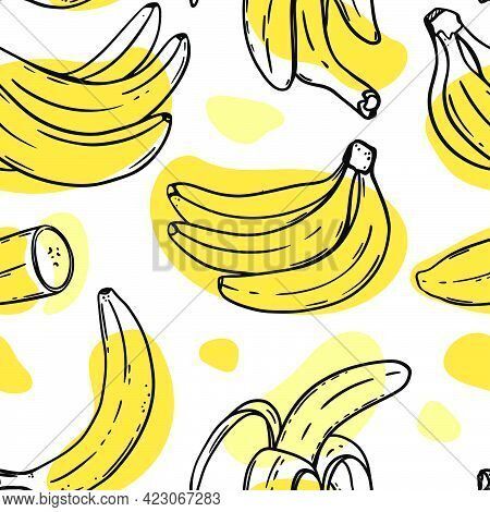 Banana Pattern Abstract Ripe Delicious Tropical Fruit Individually Peeled And In A Bunch For Paleo D