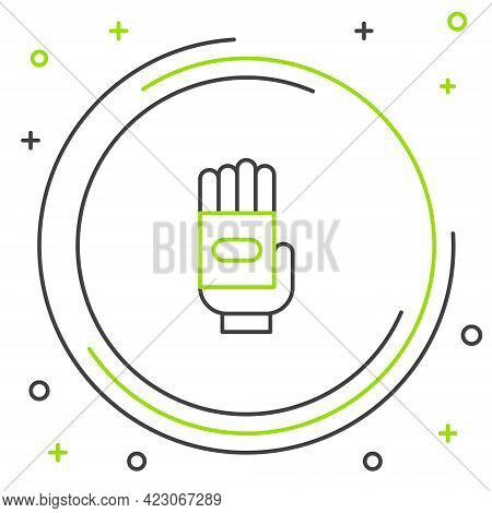 Line Garden Gloves Icon Isolated On White Background. Rubber Gauntlets Sign. Farming Hand Protection