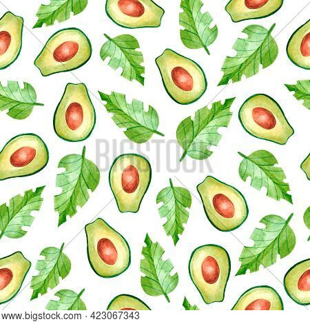 Watercolor Seamless Pattern With Avocado. Design For Dresses With Avocado And Leaves. Seamless Illus