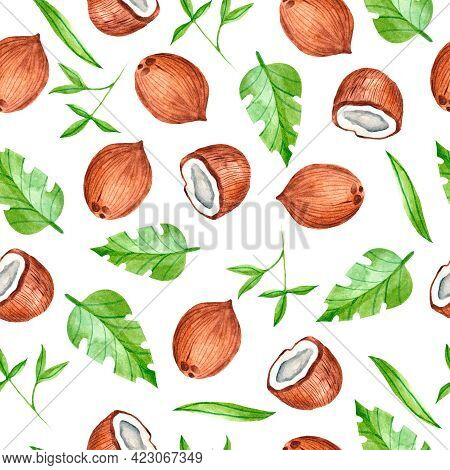 Watercolor Seamless Pattern With Tropical Coconuts. Pattern With Fruit. Watercolor Design Of Fabrics