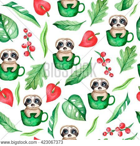 Watercolor Seamless Pattern With A Sloth Sitting In A Mug, Leaves, Berries On A White Background. Tr