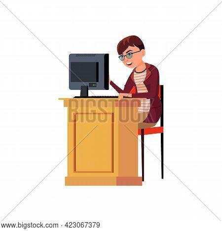Cute Woman Student Make Homework On Computer Cartoon Vector. Cute Woman Student Make Homework On Com