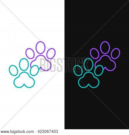 Line Paw Print Icon Isolated On White And Black Background. Dog Or Cat Paw Print. Animal Track. Colo