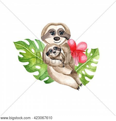 Watercolor Little Sloth With His Mother. Children's Watercolor Print For Decoration Of Postcards, Ro