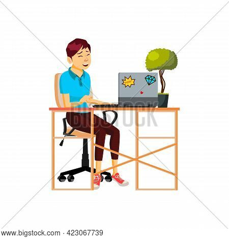 Laughing Young Woman Watching Movie On Laptop At Home Cartoon Vector. Laughing Young Woman Watching
