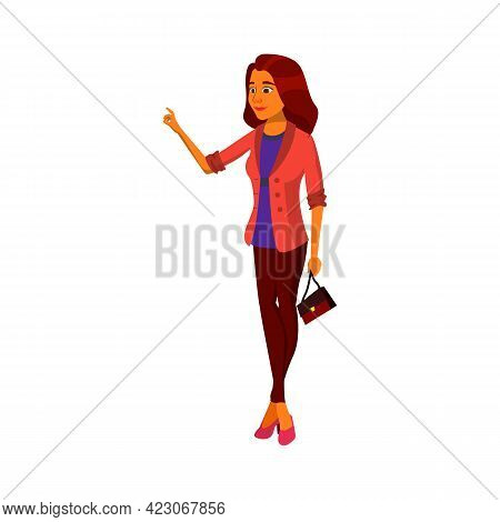 Elegance Young Woman Ring Door Bell Cartoon Vector. Elegance Young Woman Ring Door Bell Character. I