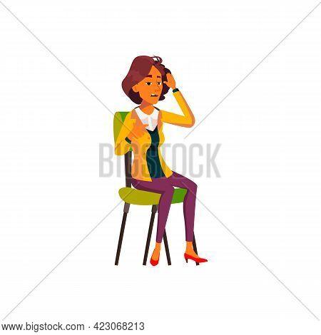 Illness Latin Woman At Doctor Cabinet Cartoon Vector. Illness Latin Woman At Doctor Cabinet Characte