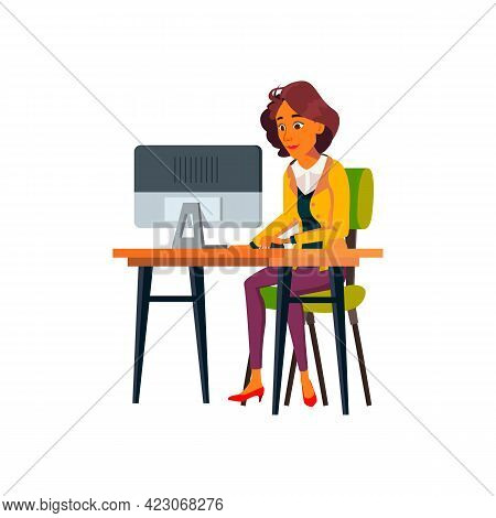 Latin Woman Checking Email On Computer Cartoon Vector. Latin Woman Checking Email On Computer Charac