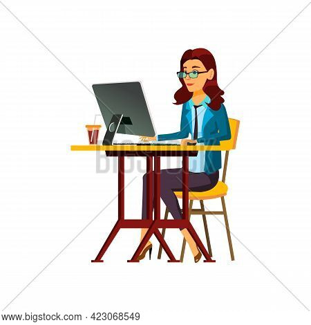 Beautiful Woman Manager Make Report On Computer Cartoon Vector. Beautiful Woman Manager Make Report