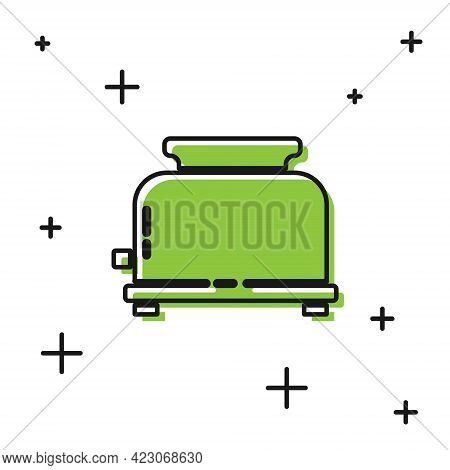 Black Toaster With Toasts Icon Isolated On White Background. Vector