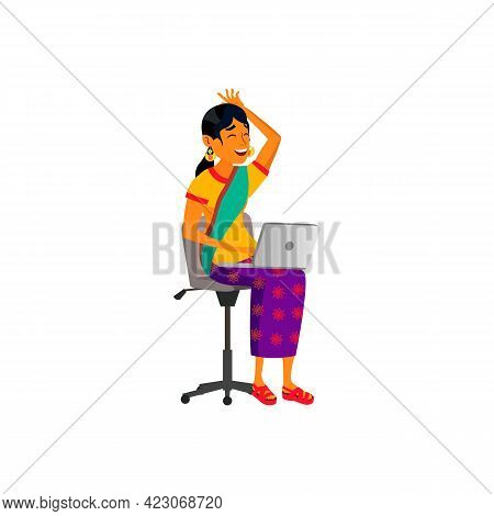 Happy Indian Woman Laughing From Humor Image On Laptop Cartoon Vector. Happy Indian Woman Laughing F