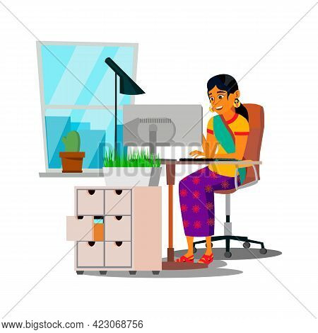 Cheerful Indian Woman Communicate With Partners Through Computer Cartoon Vector. Cheerful Indian Wom