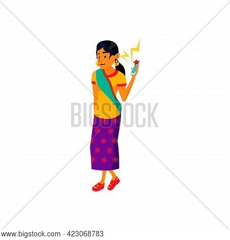 Bored Woman From Screaming Voice In Phone Cartoon Vector. Bored Woman From Screaming Voice In Phone