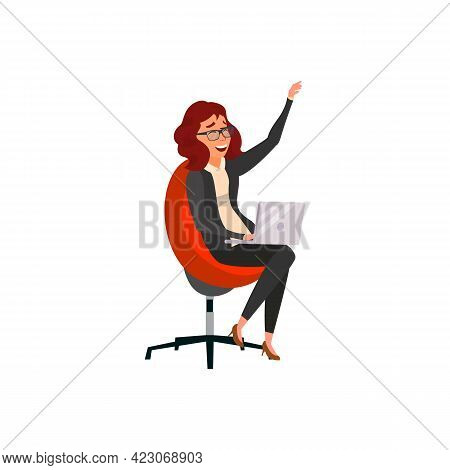 Laughing Woman Discussing With Boyfriend On Laptop Cartoon Vector. Laughing Woman Discussing With Bo