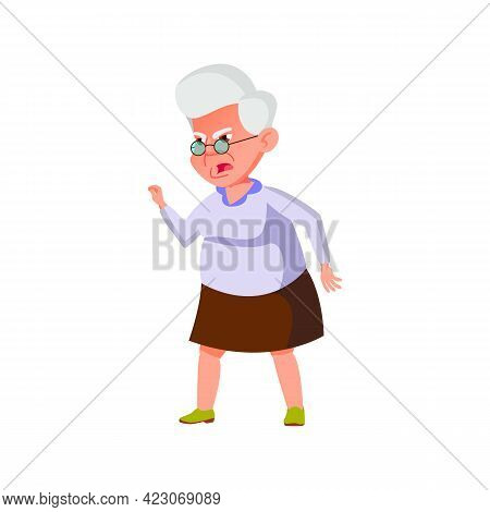 Angry Old Woman Screaming At Grandson At Home Cartoon Vector. Angry Old Woman Screaming At Grandson