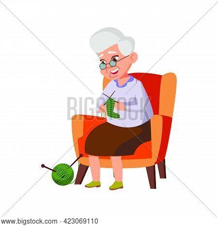 Old Grandmother Knitting Socks For Granddaughter In House Cartoon Vector. Old Grandmother Knitting S