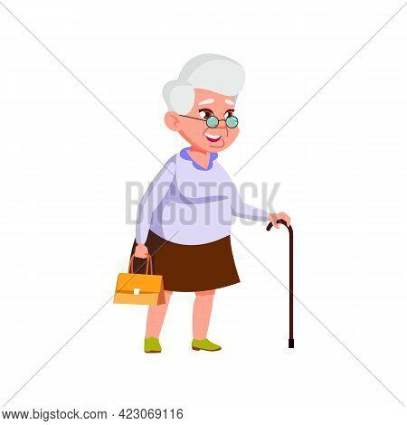 Smiling Senior Lady Walking On Street With Stick And Bag Cartoon Vector. Smiling Senior Lady Walking