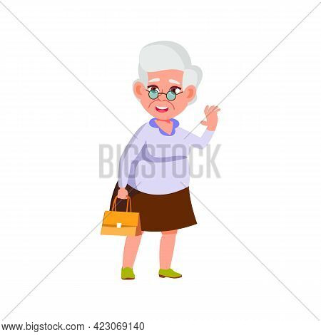 Cheerful Mature Woman Greeting Friends In Mall Cartoon Vector. Cheerful Mature Woman Greeting Friend