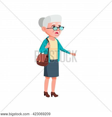 Retired Woman Shocked From High Medicine Prices At Pharmacy Cartoon Vector. Retired Woman Shocked Fr