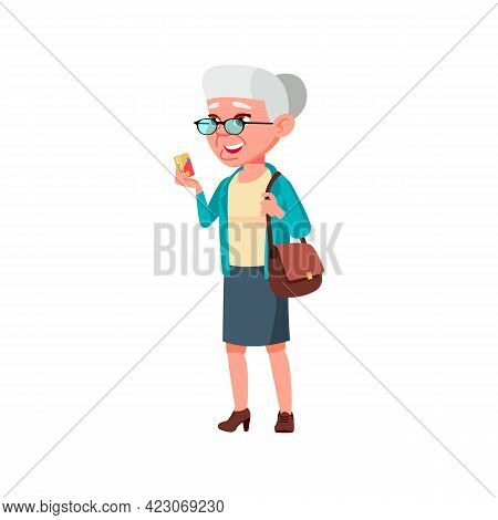 Happy Old Woman Make Payment With Bank Credit Card In Pharmacy Cartoon Vector. Happy Old Woman Make