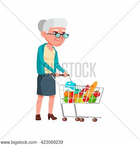 Elderly Lady Go Grocery Shopping With Cart Cartoon Vector. Elderly Lady Go Grocery Shopping With Car