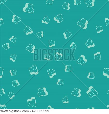 Green Bread Toast For Sandwich Piece Of Roasted Crouton Icon Isolated Seamless Pattern On Green Back