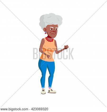Sad Aged Woman In Pharmacy Line Cartoon Vector. Sad Aged Woman In Pharmacy Line Character. Isolated