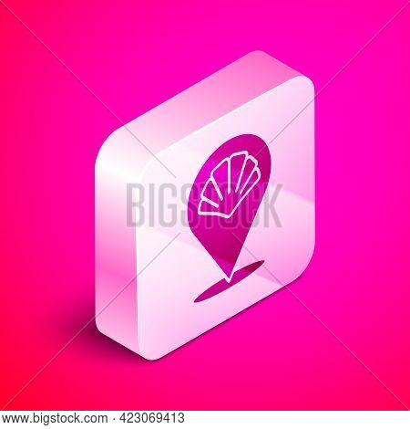 Isometric Scallop Sea Shell Icon Isolated On Pink Background. Seashell Sign. Silver Square Button. V