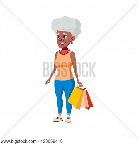 Happiness Mature Age Woman Shopping In Boutique Cartoon Vector. Happiness Mature Age Woman Shopping