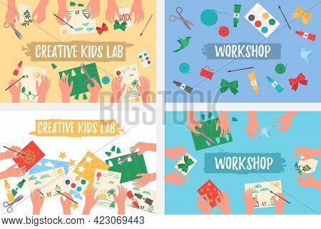 Creative Kids Lab, Top View, Kids Hands.