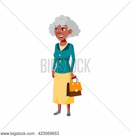 Elegance Style Old Woman With Handbag In Mall Cartoon Vector. Elegance Style Old Woman With Handbag