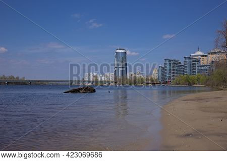Kyiv, Ukraine, The Dnieper River. View Of The Livoberezhnyi Masyv, The Patriarchal Cathedral Of The