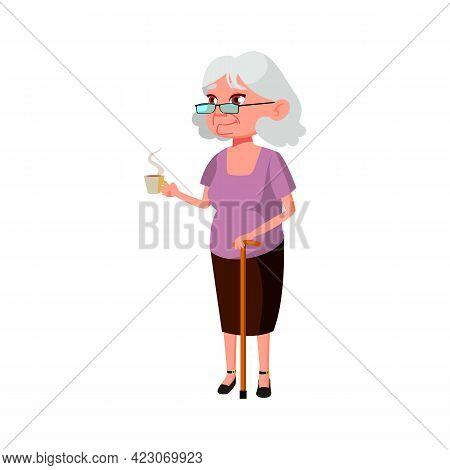 Elderly Lady With Stick Drinking Coffee Outside Cartoon Vector. Elderly Lady With Stick Drinking Cof