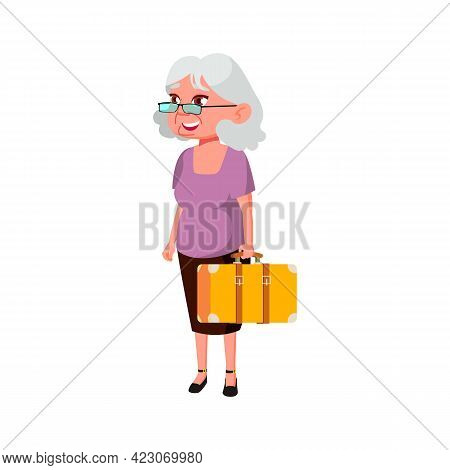 Elderly Woman Traveling With Baggage Cartoon Vector. Elderly Woman Traveling With Baggage Character.