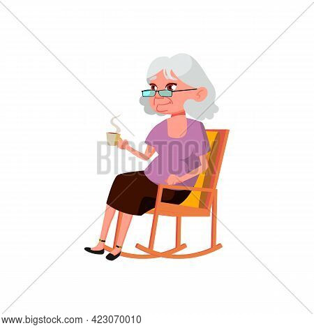 Elderly Woman Sitting In Rocking Chair And Drinking Tea Cartoon Vector. Elderly Woman Sitting In Roc