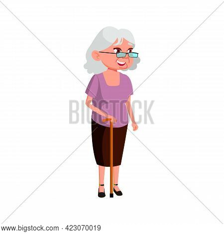 Aged Woman With Stick Walking On Town Street Cartoon Vector. Aged Woman With Stick Walking On Town S