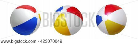 Summer Beach Ball Isolated On White. Sea Resort Items.stripped Rubber Balls Set. Sea Item.