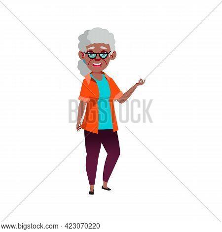Granny Speaking Funny Life Story Cartoon Vector. Granny Speaking Funny Life Story Character. Isolate