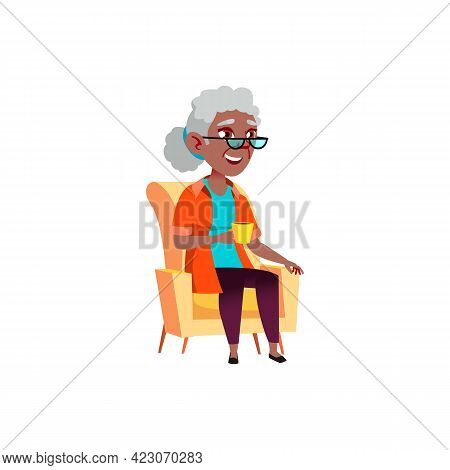 Smiling Aged Woman Sitting In Armchair And Drink Tea Cartoon Vector. Smiling Aged Woman Sitting In A