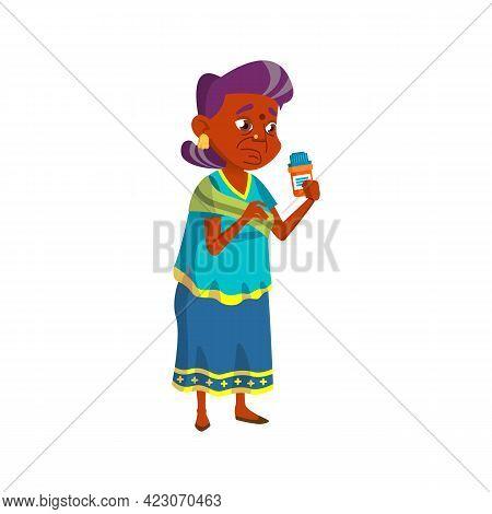 Sad Indian Grandmother Reading Compositions Of Medicine Pills Cartoon Vector. Sad Indian Grandmother