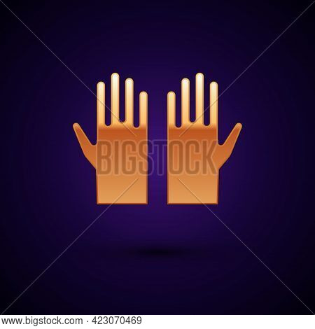 Gold Medical Rubber Gloves Icon Isolated On Black Background. Protective Rubber Gloves. Vector