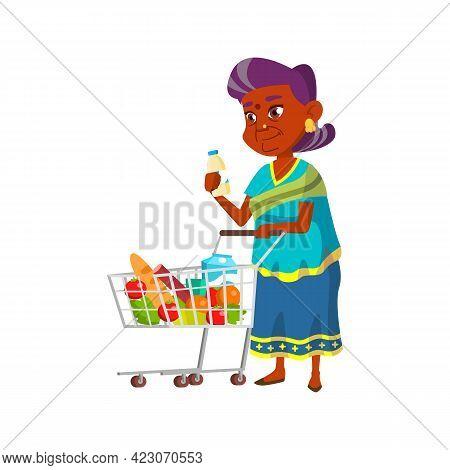 Indian Granny Putting Milk Bottle In Market Cart Cartoon Vector. Indian Granny Putting Milk Bottle I