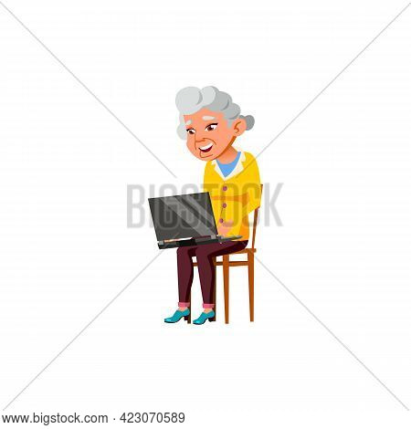 Happy Aged Woman Chatting With Daughter On Laptop Cartoon Vector. Happy Aged Woman Chatting With Dau