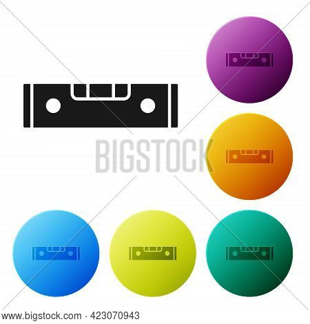 Black Construction Bubble Level Icon Isolated On White Background. Waterpas, Measuring Instrument, M