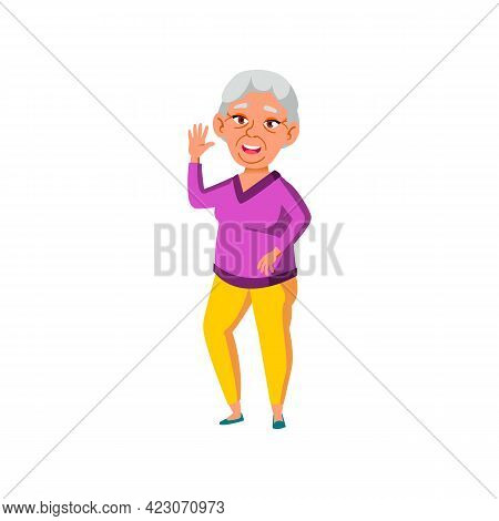 Old Asian Woman Welcoming Friends On Party Cartoon Vector. Old Asian Woman Welcoming Friends On Part