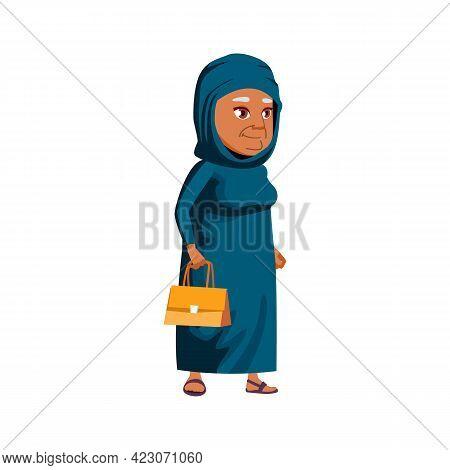 Aged Arabian Woman Walking With Handbag In Mall Cartoon Vector. Aged Arabian Woman Walking With Hand