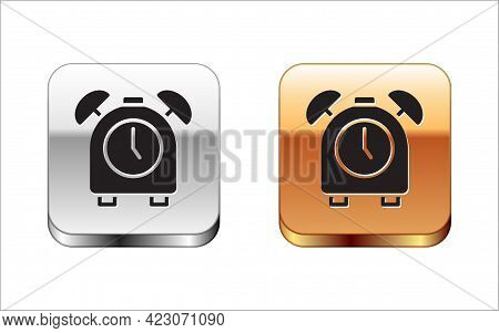 Black Alarm Clock Icon Isolated On White Background. Wake Up, Get Up Concept. Time Sign. Silver-gold